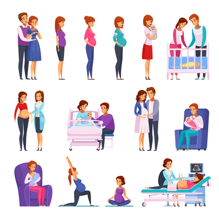 Set of cartoon icons with gymnastics during pregnancy, medical examination, childbirth, newborn, happy family isolated vector illustration    Illustration