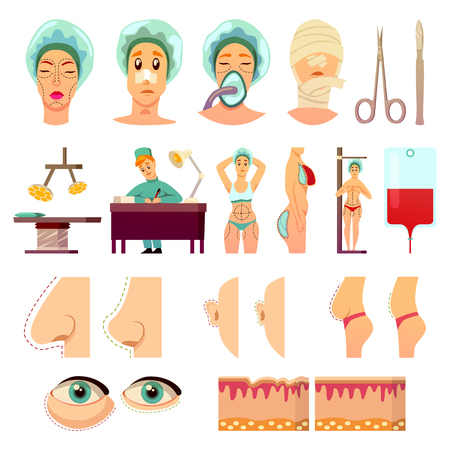 Plastic surgery orthogonal icons with medical instruments, parts of body before and after operations isolated vector illustration Stock Vector - 94983373