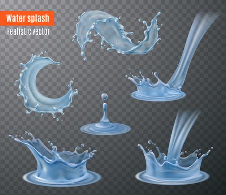 Die schönen realistischen Bilder des Wasserspritzens, die für Ihre Designe eingestellt wurden, die auf schwarzem transparentem Hintergrund blau sind, lokalisierten Vektorillustration