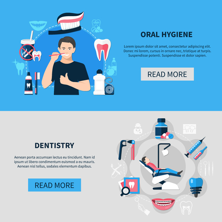Dental horizontal banners with oral hygiene and dentistry decorative icons set flat vector illustration  Ilustracja