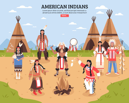 American indians cartoon poster with teepees in tribal location and native americans dancing around fire flat vector illustration Illustration