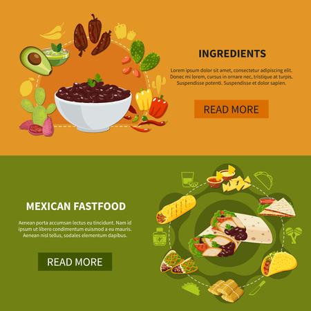 メキシコのファーストフードと伝統的な料理のための食材と水平バナーのセット分離ベクトルイラスト