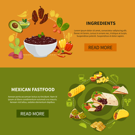 Set of horizontal banners with mexican fastfood and ingredients for traditional dishes isolated vector illustration