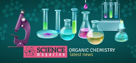 Science magazine horizontal banner with decorative icons of equipment for experiments in organic chemistry laboratory  vector illustration  Stock Illustratie