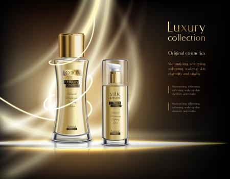 Kolekcja luksusowych kosmetyków perfumowych realistyczny plakat reklamowy ze świecącymi szklanymi butelkami z rozpylaczem balsamu ciemne tło ilustracji wektorowych