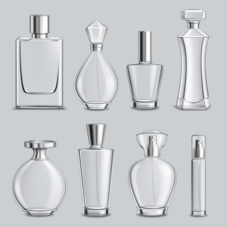 Perfume glass bottles various shapes and caps clear colorless realistic set light grey background isolated vector illustration