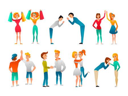 Język Bode gesty gestów płaskich znaków zbiór ludzi spotykających się z pozdrowieniami, przytulając się nawzajem na białym tle ilustracji wektorowych Ilustracje wektorowe