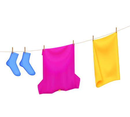 Washed laundry color realistic composition with images of t-shirt towel and socks hanging on clothesline vector illustration