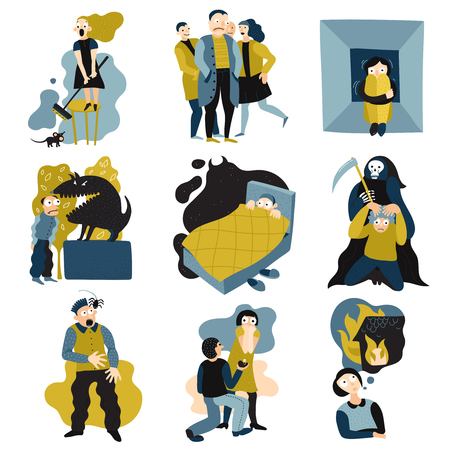 Human fears panic anxiety flat icons collection with spider nightmare claustrophobia death crowded space isolated vector illustration. Imagens - 95234821