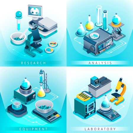 Isometric design concept with laboratory equipment for research and analysis isolated on gradient blue background vector illustration