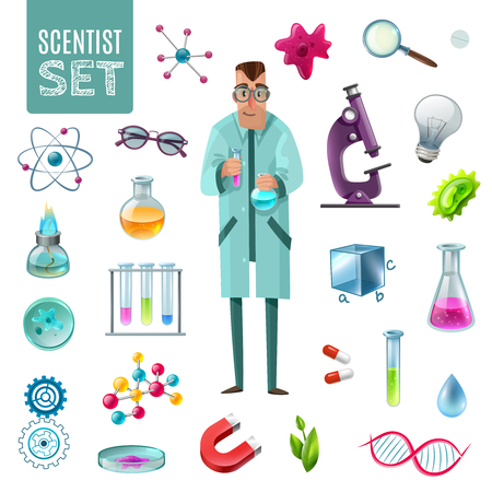 Science icons cartoon set with scientist character and tools for laboratory experiment and theoretical research vector illustration