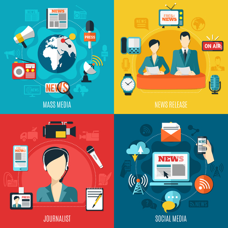 Mass media 2x2 design concept with news release social media journalist square compositions flat vector illustration Stock Illustratie