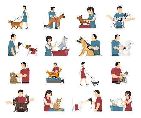 Grooming service set with isolated images of people washing drying and cutting wool of their pets vector illustration Illustration