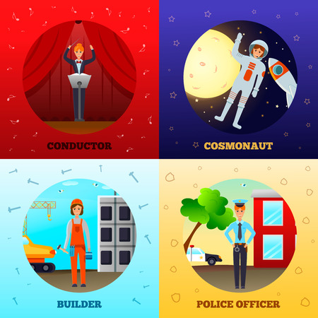 Woman professions design concept with conductor on stage, cosmonaut in space, builder, police officer isolated vector illustration  일러스트