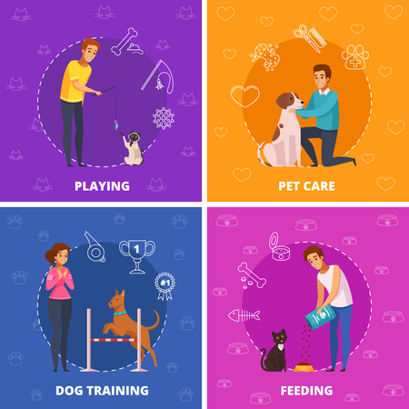 People with pets 2x2 design concept with pet care dog training playing and feeding square icons cartoon vector illustration