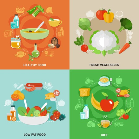 Four squares healthy eating concept with fresh vegetables low fat food and diet descriptions vector illustration