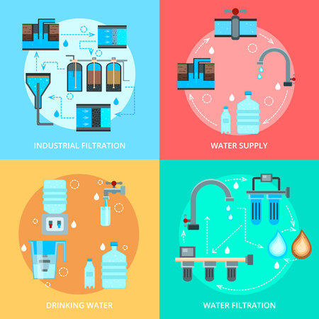 Water cleaning flat design concept with supply and industrial purification, home filtration for drink isolated vector illustration