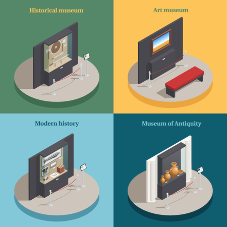 Art museum showcase 4 isometric icons concept square composition with historical antique display cases isolated vector illustration  Ilustração