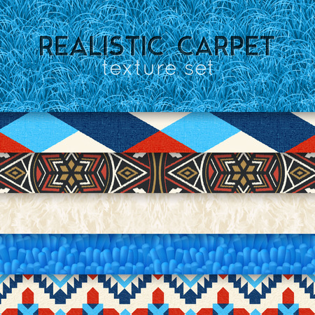 Realistic carpet texture samples horizontal layers collection of shaggy short pile colorful ornamental patterns designs vector illustration   向量圖像