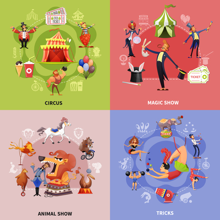 Circus cartoon concept with circus magic show animal show and tricks descriptions vector illustration Illustration