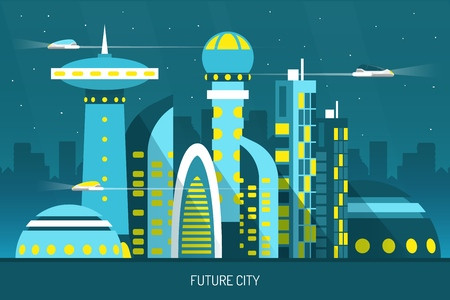 Future city with skyscrapers of various shape, air transports on night sky background horizontal vector illustration  Vettoriali