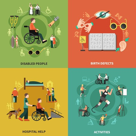 Disabled person icon set with disabled people birth defects hospital help and activities descriptions vector illustration Illustration