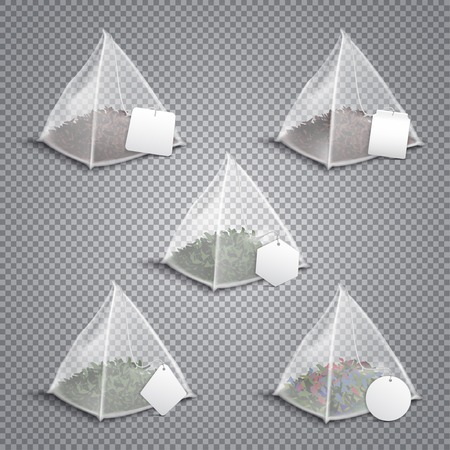 Silky nylon pyramid realistic tea bags collection with various shaped white blank tags transparent background vector illustration