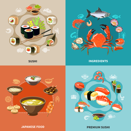 Four squares sushi concept set Stockfoto - 95059651