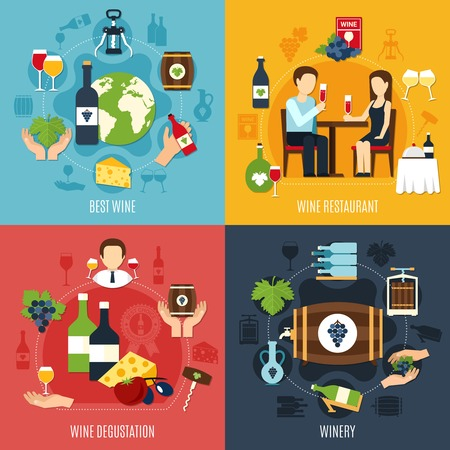Flat design winery and people degusting best wine 2x2 icons set isolated on colorful background vector illustration