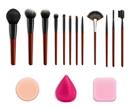 Makeup brushes sponges realistic collection