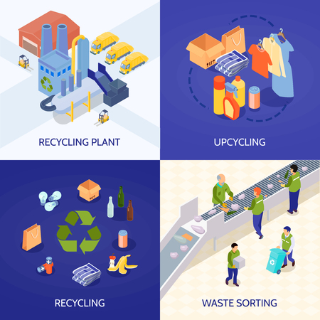 Garbage recycling isometric design concept with waste processing plant, upcycling, refuse sorting isolated vector illustration Vectores