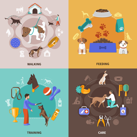Dogs design concept with four square compositions of pet and human characters toys awards and veterinary vector illustration