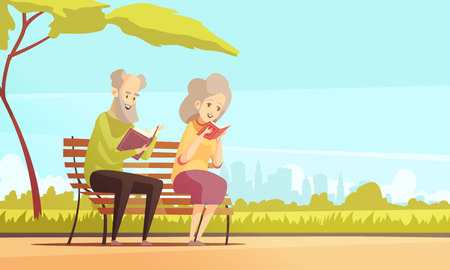Old man and woman sitting on bench under tree in city park and reading books flat vector illustration
