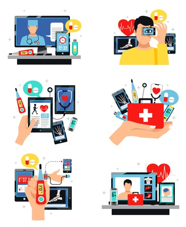 Digital health innovative self-care and control technology 6 symbols compositions set isolated flat vector illustration