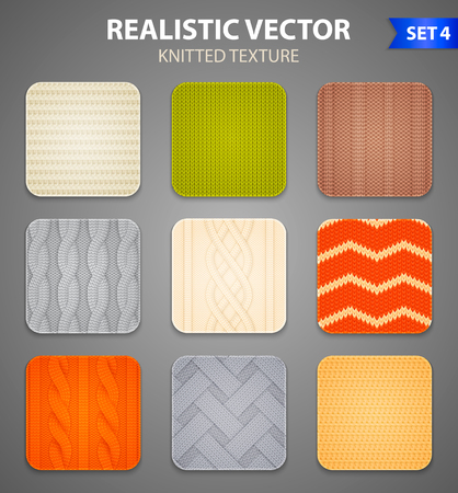 Colorful knitting patterns 9 realistic square samples set  with cable and rib stitch grey background vector illustration