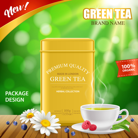 Green tea golden tin box new package design realistic advertisement poster with white porcelain cup vector illustration.