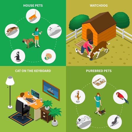Isometric 2x2 icons set with people and their animals isolated on colorful backgrounds 3d vector illustration