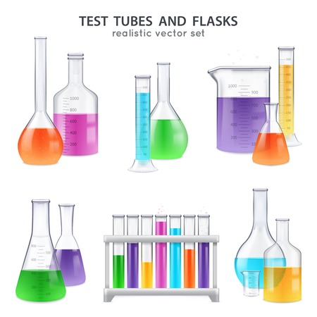 Chemical laboratory glassware equipment realistic set of test tubes flasks bottles retorts with colorful reagents isolated vector illustration Ilustrace