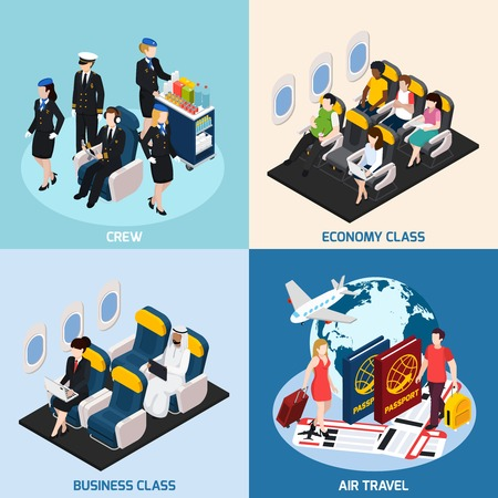 Airplane passengers and crew isometric concept icons set with air travel symbols isolated vector illustration