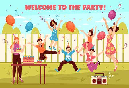 Jumping people illustration with text and outdoor backyard landscape with flat human characters of festive teenagers vector illustration