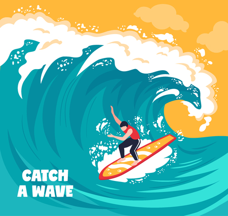 Isometric surf wave composition with text and drawn artwork sea wave with human character of surfer vector illustration Illustration