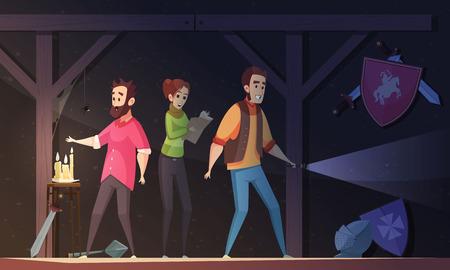 성인 사람들과 현실 퀘스트 만화 벡터 일러스트 레이 션 어두운 방에 잠겨 탈출을 찾고