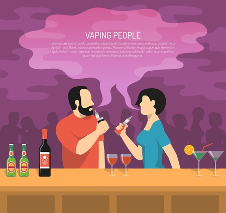 Vapor electronic cigarettes smoking colorful poster with 2 vaping bar visitors and guide summary text vector illustration