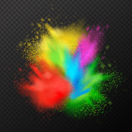 Holi paint explosion realistic composition with festive splashes of colourful paint with fine droplets on transparent background vector illustration