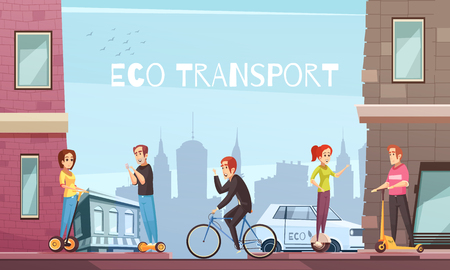 Eco city transport with personal transit devices as scooter two-wheeled electric hoverboard bicycle cartoon vector illustration  Vectores