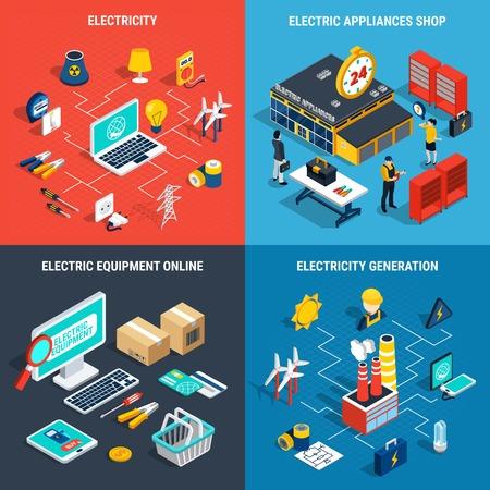 Four squares electricity isometric concept with electric appliances shop electricity generation electric development online descriptions vector illustration Illustration