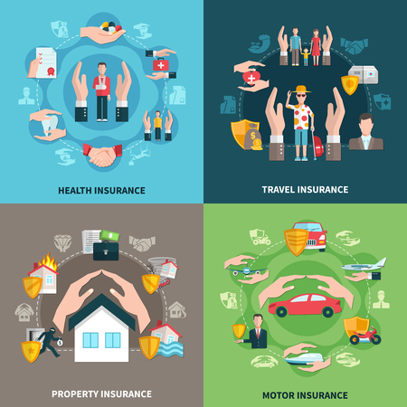 Design concept with insurance of health, property, travel and transportation isolated on color background vector illustration