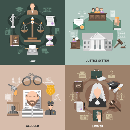 Law design concept with round compositions of flat crime and justice related icons with human characters vector illustration Ilustração