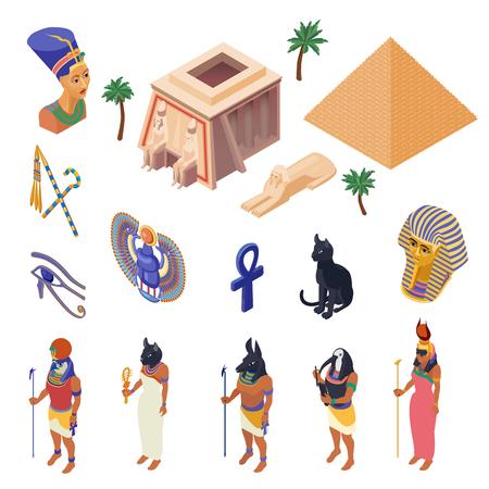 Símbolos culturales de Egipto hitos y atracciones colección de iconos isométricos con ilustración de vector aislado de ropa nativa étnica pirámide