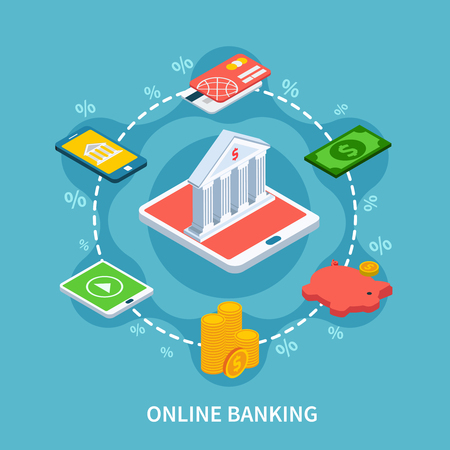 Accounting isometric composition with conceptual icons of bank building smartphone gadgets and silhouette signs of percentage vector illustration